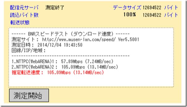 BNR スピードテスト 回線速度/通信速度 測定